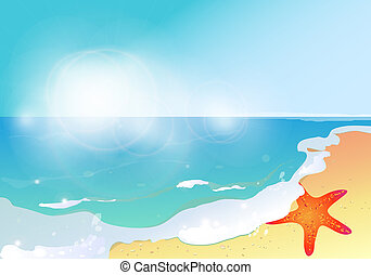 tempo verão, céu, estrela mar