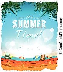 tempo verão, cartaz, fundo