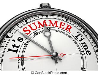 tempo verão, conceito, relógio