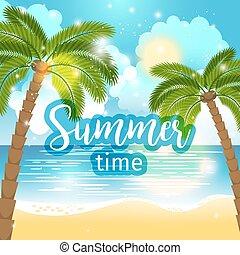 tempo verão, mar, fundo, vista