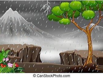 temporale, paesaggio, fondo, natura