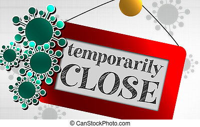 Temporarily closed sign due to virus
