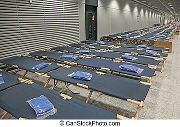 Temporary beds in the airport closed due to the strike