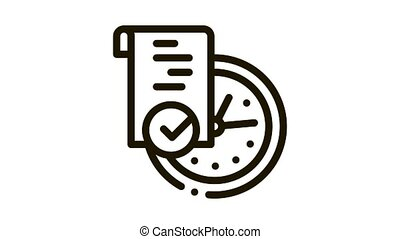 temporary document Icon Animation. black temporary document animated icon on white background