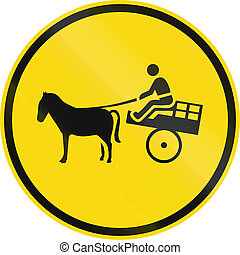 Temporary road sign used in the African country of Botswana - Animal-drawn vehicles only