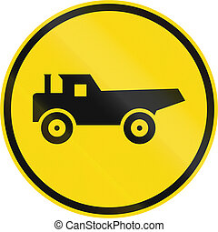 Temporary road sign used in the African country of Botswana - Construction vehicles only