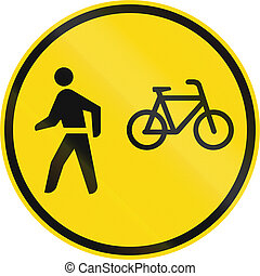 Temporary road sign used in the African country of Botswana - Cyclists and pedestrians only