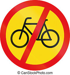 Temporary road sign used in the African country of Botswana - Cyclists prohibited