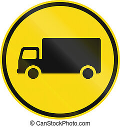Temporary road sign used in the African country of Botswana - Goods vehicles only