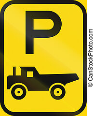 Temporary road sign used in the African country of Botswana - Parking for construction vehicles