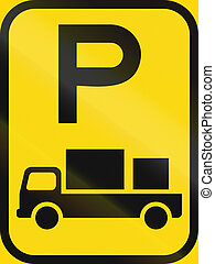 Temporary road sign used in the African country of Botswana - Parking for delivery vehicles