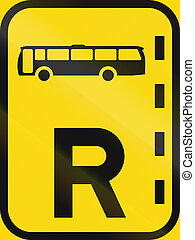 Temporary road sign used in the African country of Botswana - Reserved lane for buses