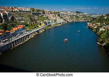 temprano, douro, barcos, día, hermoso, primavera, río,...