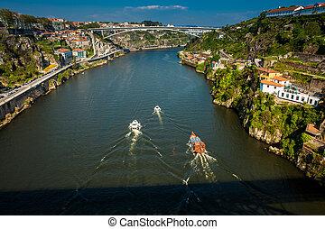temprano, douro, barcos, día, hermoso, primavera, río, ...