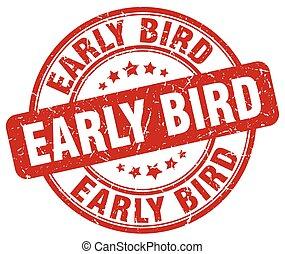 temprano, estampilla, grunge, pájaro, rojo