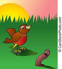 temprano, gracioso, pájaro, gusano