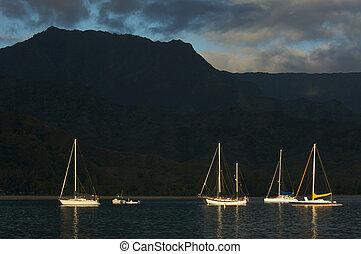 temprano, luz, veleros, monring