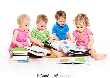 temprano, niños, grupo, bebes, libros, encima, niñas, aislado, uno, educación, niños, plano de fondo, año, niños, blanco, lectura, viejo