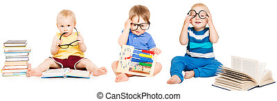 temprano, niños, grupo, libro, anteojos, aislado, educación, bebé, blanco, lectura, niños, elegante