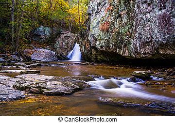 temprano, parque, color, rocas, otoño, maryland., estado, ...