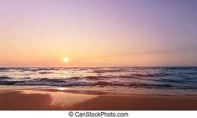 temprano, río, salida del sol, picado, mañana