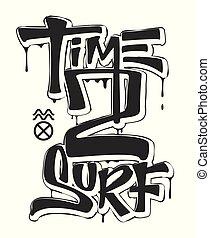 temps, à, ressac, impression, conception, pour, t-shirt, vecteur, illustration