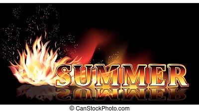 temps été, brûler, bannière, vecteur