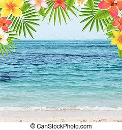temps été, heureux, affiche, frangipanier