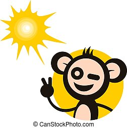 temps été, singe