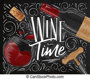 temps, affiche, vin, noir