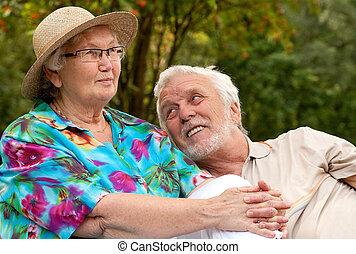 temps, apprécier, couple, bon, personne agee