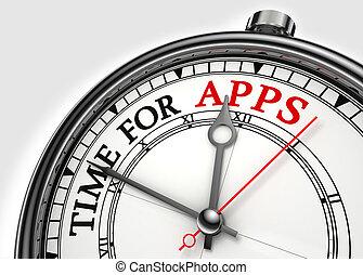 temps, apps, concept, horloge