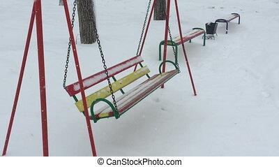 temps, balançoire, hiver, vide, neige