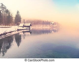temps, bohinj-slovenia, lac, hiver