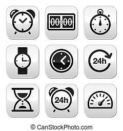 temps, boutons, vecteur, ensemble, horloge