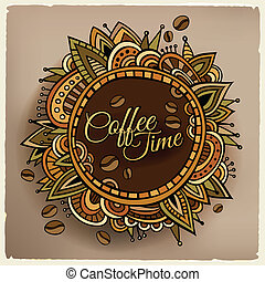 temps café, frontière décorative, étiquette, conception