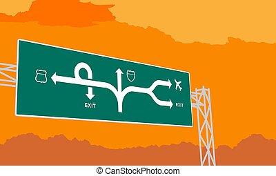 temps, ciel, illustration, autoroute, surise, arrière-plan vert, signage, orange, coucher soleil, ou, autoroute