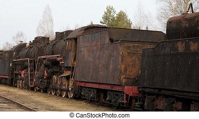 temps, cimetière, vapeur, trains., genoux