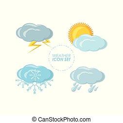 temps, climat, mettez stylique, icône