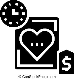 temps, coeur, icône, illustration, vecteur, coût, glyph, ...