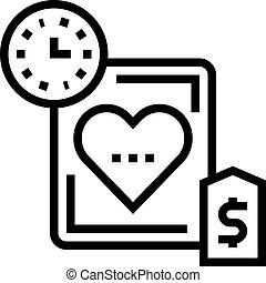 temps, coeur, icône, illustration, vecteur, ligne, coût, ...