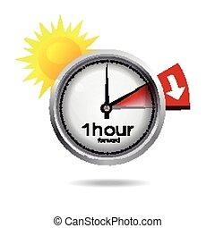 temps, commutateur, horloge, été