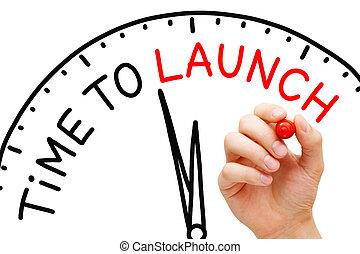 temps, concept, horloge, lancement