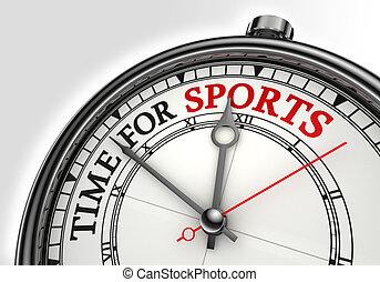 temps, concept, horloge, sports