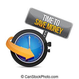 temps, conception, sauver, illustration, argent