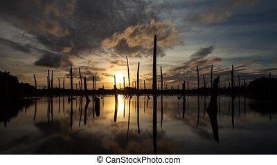 temps, coucher soleil, lapse., lac