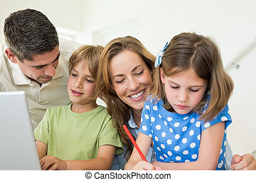 temps, dépenser, loisir, maison famille