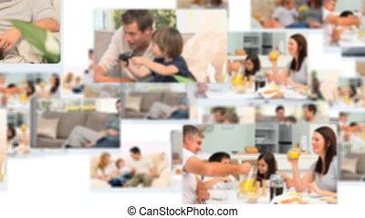temps, dépenser, montage, familles