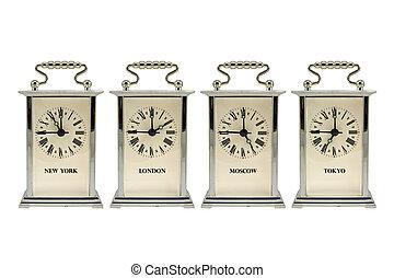 temps, différent, clocks, spectacles, zones