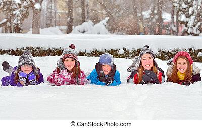 temps, enfants, hiver, neige